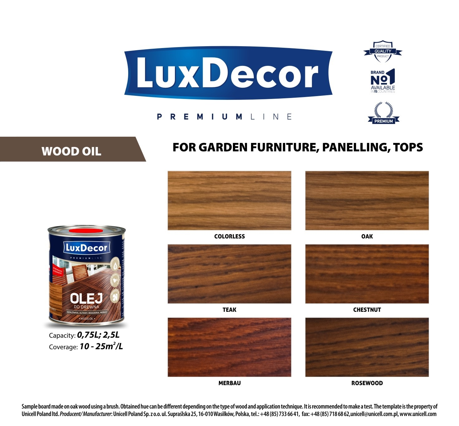 wood oil color card